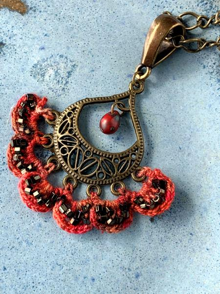 Filigree Flames Pendant Necklace - Hand-Dyed Thread in Shades of Red and Orange Crocheted into an Antique Brass Filigree Drop Pendant - OOAK