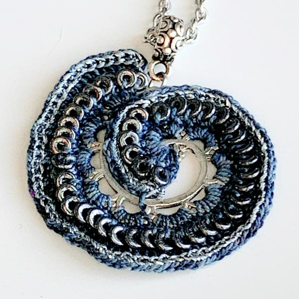 Rings Around the Spiral Pendant - Mixed Media Necklace - Metal Fiber Glass - Gray Black Silver - Silver Chain - 20 inches - One of a Kind