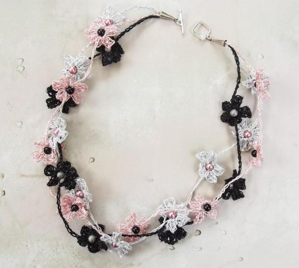 Multi Strand Crochet Flower Necklace in Pink, Black, and Silver - One of a Kind - Garlands of Flowers