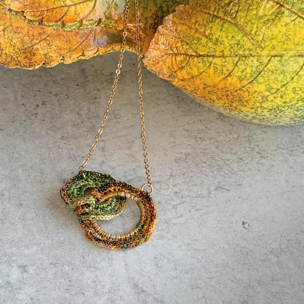 Double Ring Necklace - Green Gold Earth Tones - Mixed Media - Metal and Fiber - Fine chain - Adjustable Length 19-21 inches - OOAK