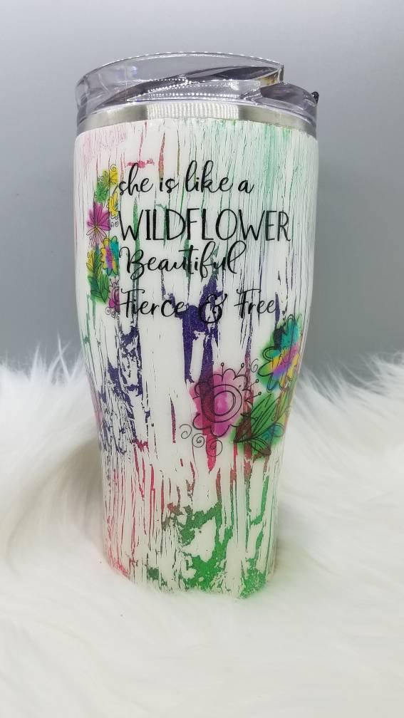 20 oz Glitter Epoxy Tumbler with Wildflowers Personalized Tumbler Glitter Tumbler