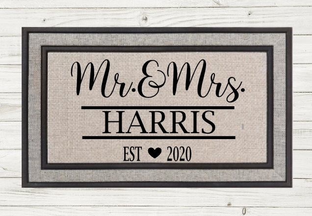 PERSONALIZED MR&MRS DOORMAT- Local Fargo/Mhd Pickup Available