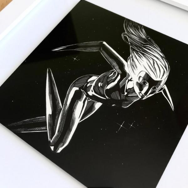 Original Framed Ink Scratchboard: Monster Buddy Project, Queen of the Stars