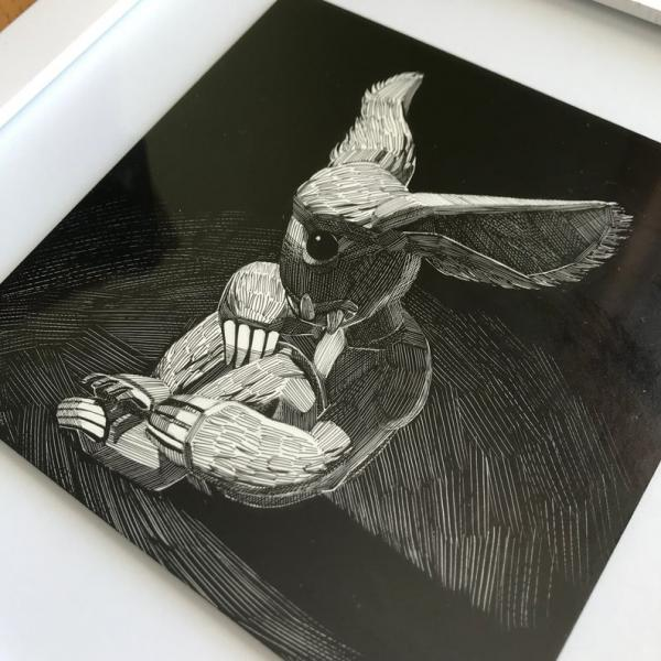 Original Framed Ink Scratchboard: Monster Buddy Project, Lonely Beast