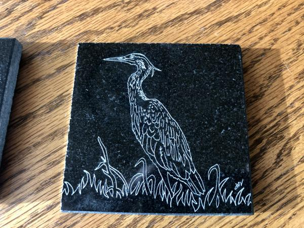 Etched tiles/coasters Heron