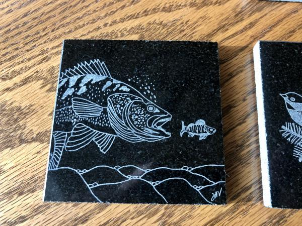 Etched walleye coaster/tile