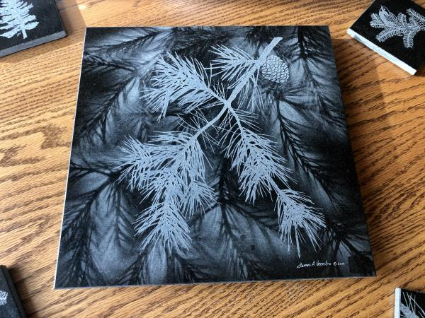 Etched pine boughs pine cone granite Lazy Susan hot plate