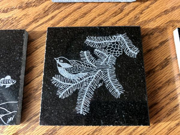 Etched Chickadee tile/coaster granite