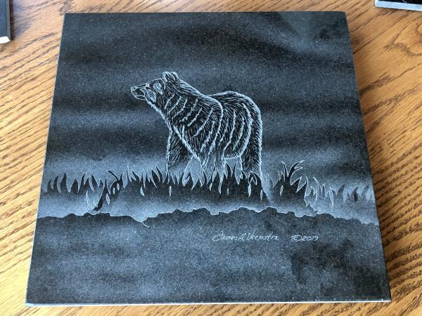 Etched Granite Bear Hotplate Lazy Susan