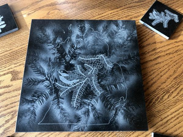 Etched Michigan Chickadee black granite lazy Susan hot plate