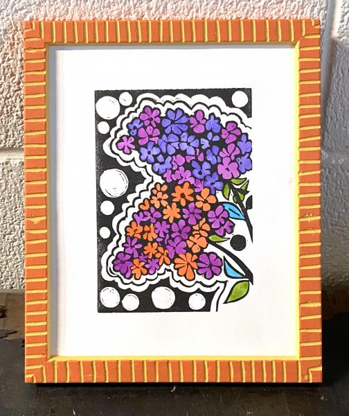 Hand-Painted Linocut Print - Lilacs