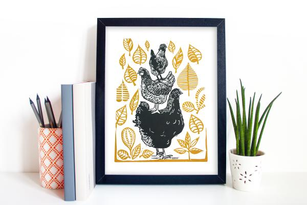 Stack of Chickens Linocut Print