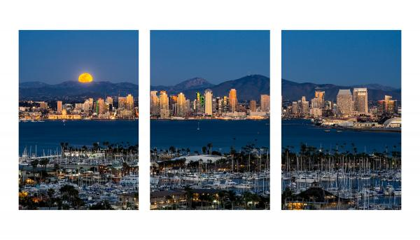 "Full Moon Rising Over The San Diego Skyline - 30""x60"" Metal Triptych"