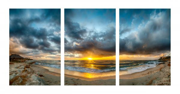 "Windansea Panoramic - 30""x60"" Metal Triptych"