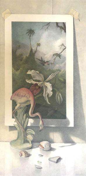 Flamingo Vase with Martin Johnson Heade