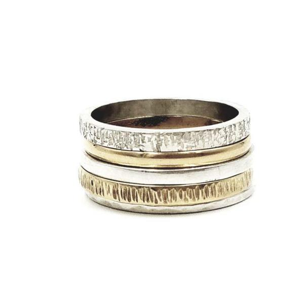 Sterling Silver / Gold Stack Rings