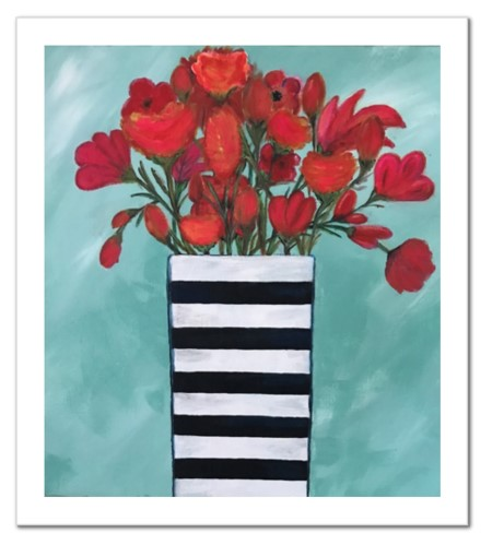 Red Flowers in Striped Vase - Print