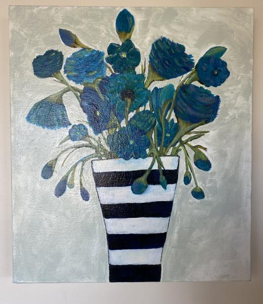 """Blue Whimsy"" Blue Flowers in Striped Vase"