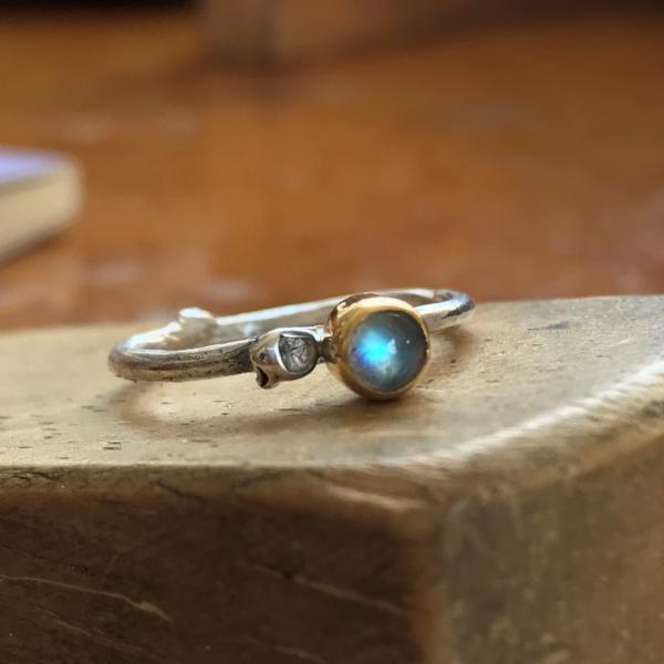 Moonstone Twig Ring Set with Gold Bezel