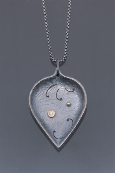 Large Oxidized Silver Leaf Pendant with Diamond