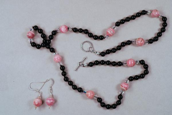 Rhodochrosite & Onyx Necklace