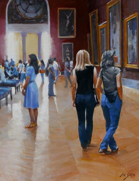 Friends in the Louvre - 16x20 Original Oil