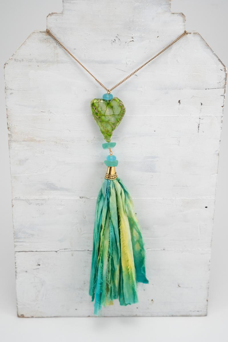 Blue Green Pendant necklace with tassel