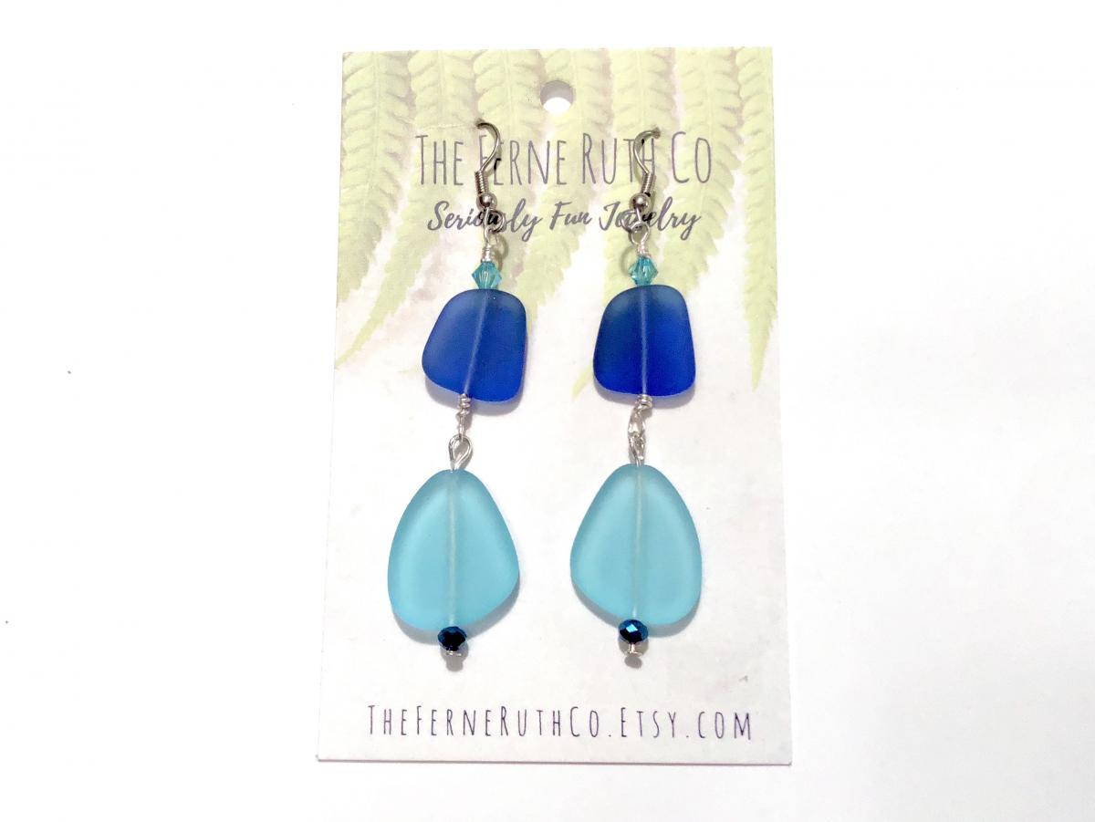 Sea Glass (man made) earrings-royal blue & turquoise blue