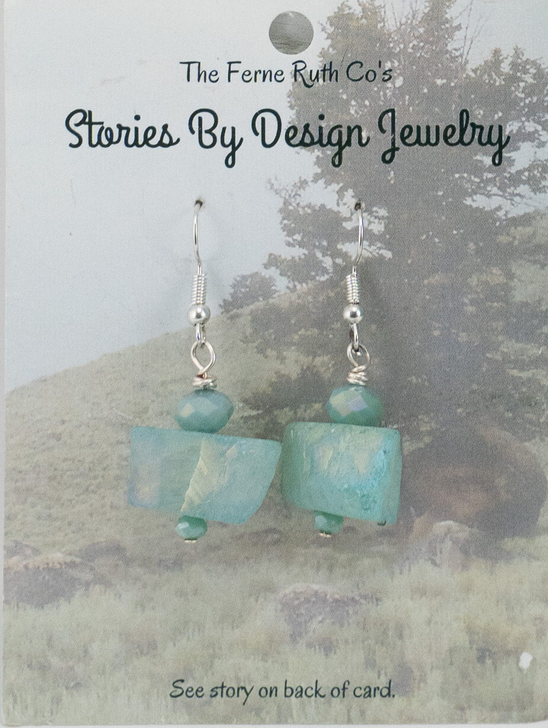 """Stories By Design"" Rock & the Tree story--Turquoise earrings"