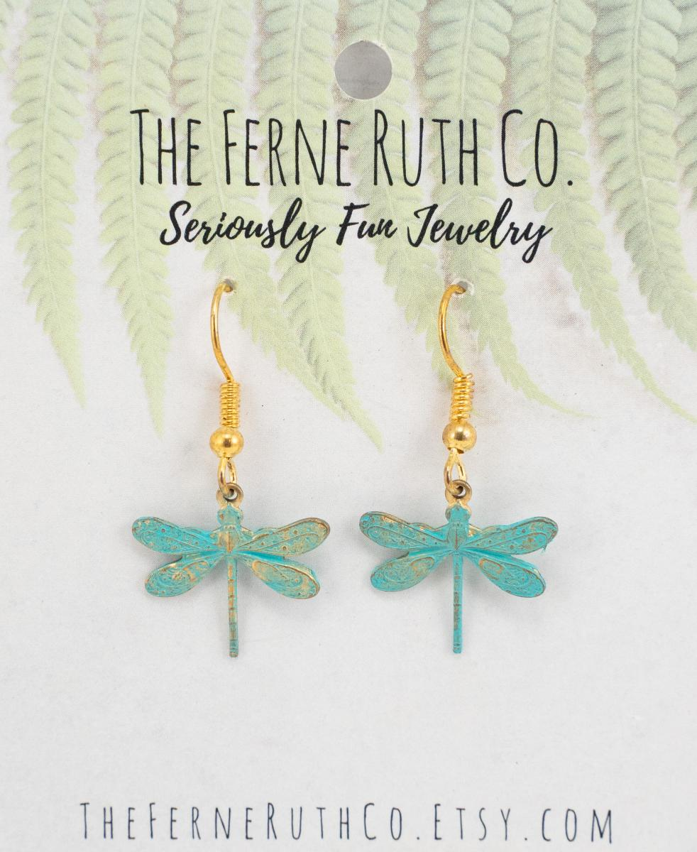 Dragonfly earrings--Patina look