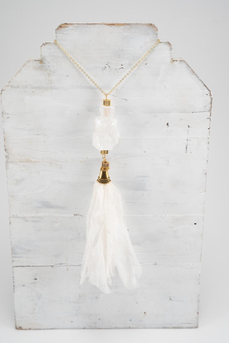 "White ""Stackable"" Agate pendant necklace with tassel"