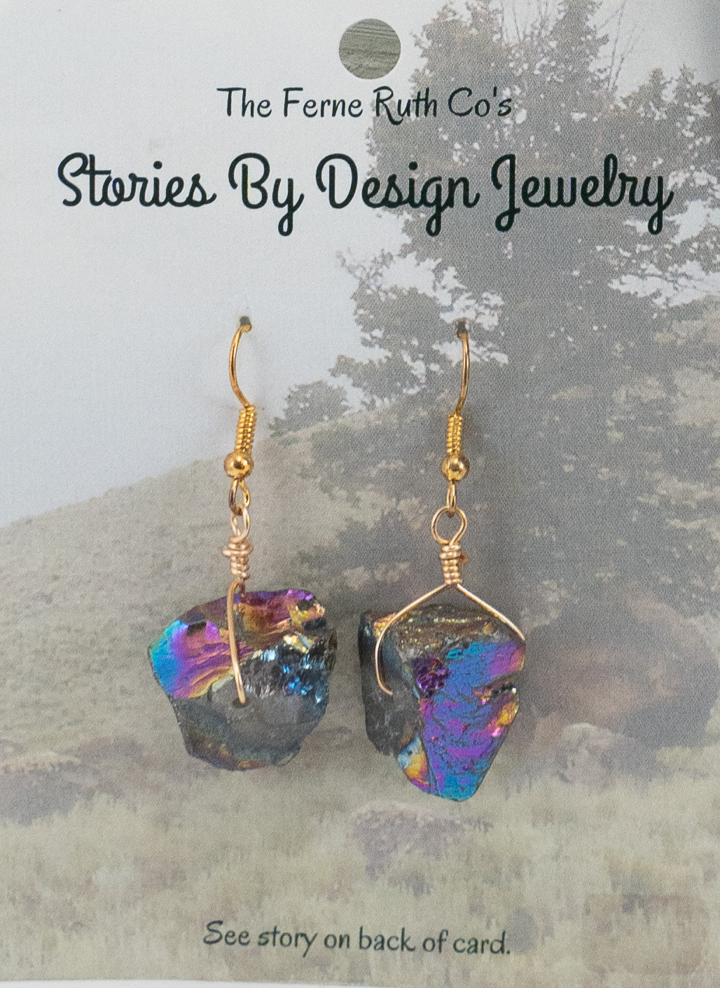"""Stories By Design"" Rock & the Tree story--multi colored earrings"