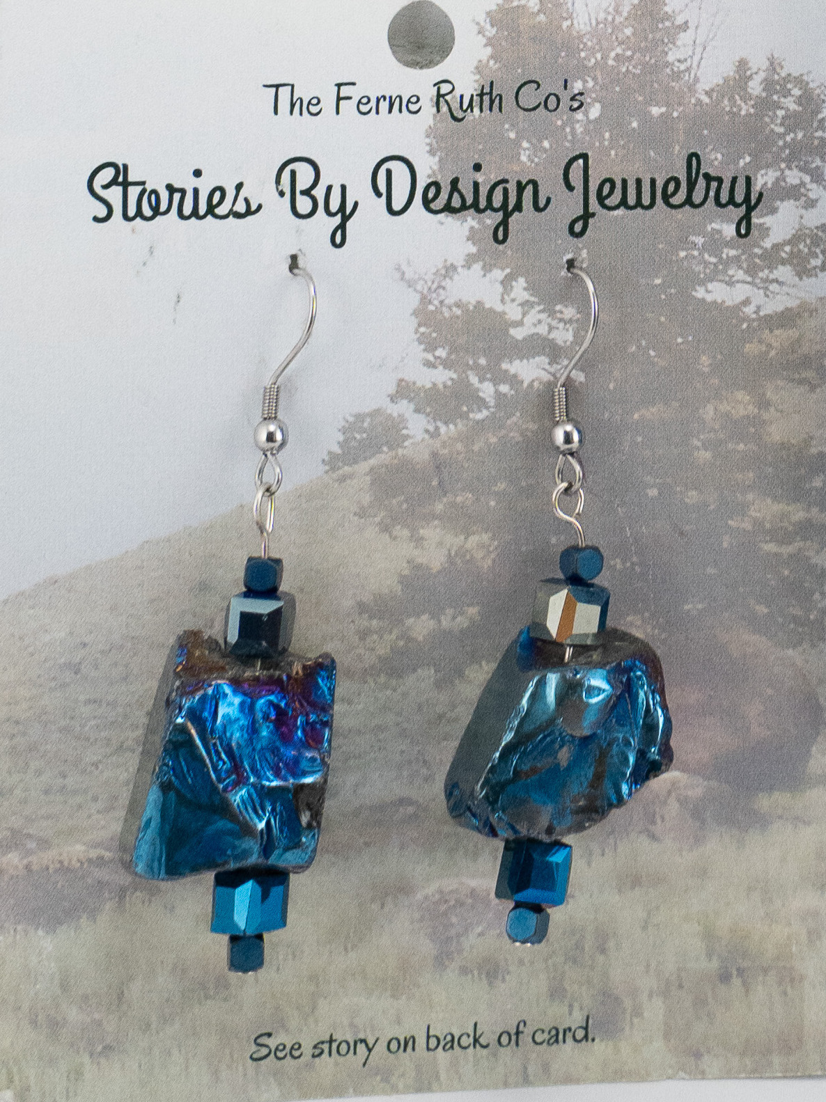 """Stories By Design"" Rock & the Tree story--cobalt blue earrings"