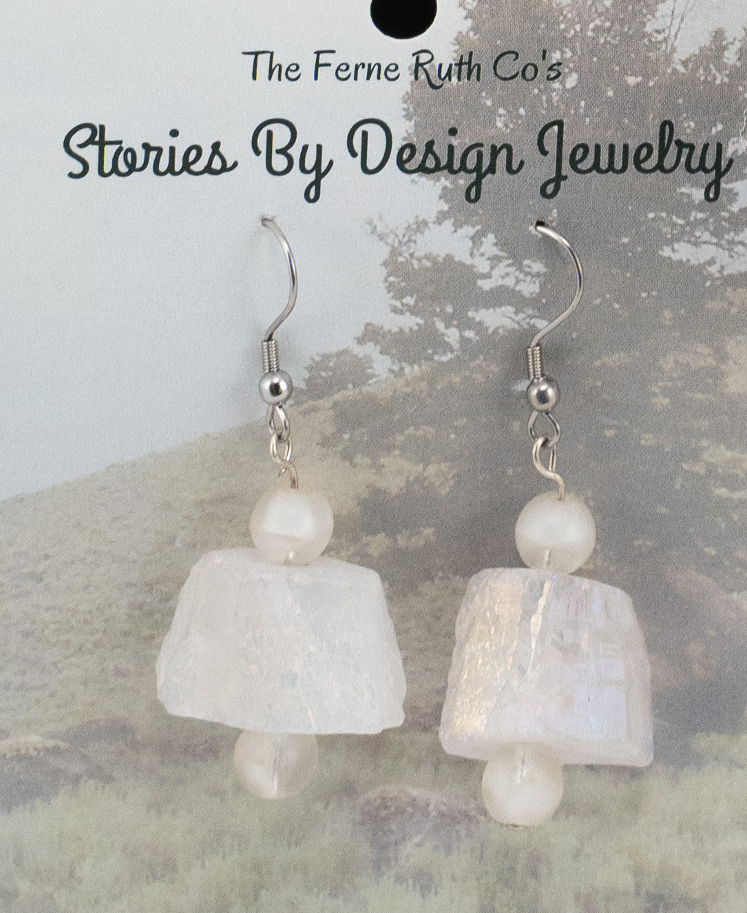 "Stories By Design ""Rock & a Tree"" white earrings"