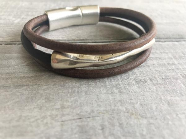 Unisex Rustic Silver Magnetic Leather Bracelet