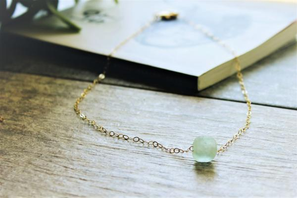 African Aqua Sea Glass 14k Gold filled Necklace