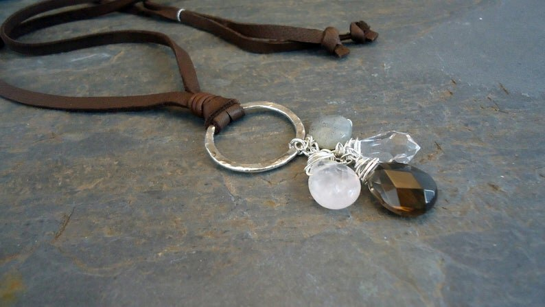 Sterling Silver/leather and semiprecious stones necklace