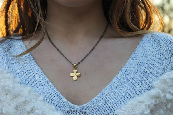 Rustic Cross Mixed Metal necklace
