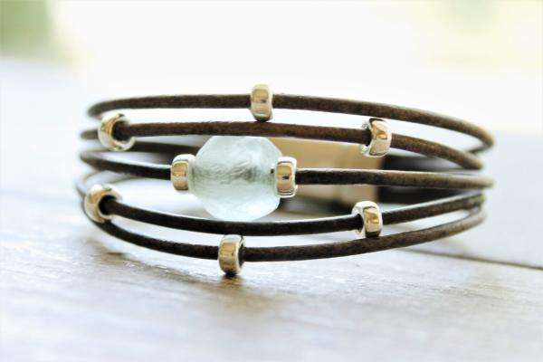 Aqua African Sea Glass Sterling Silver Leather Bracelet