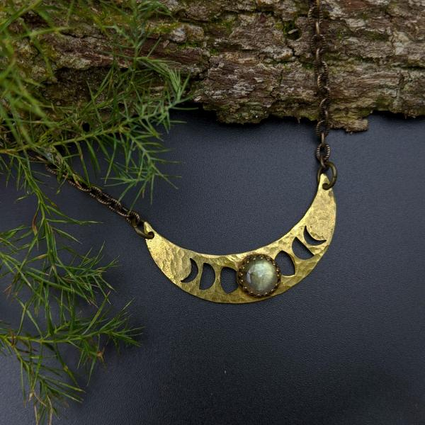 lunar phases crescent necklace with labradorite