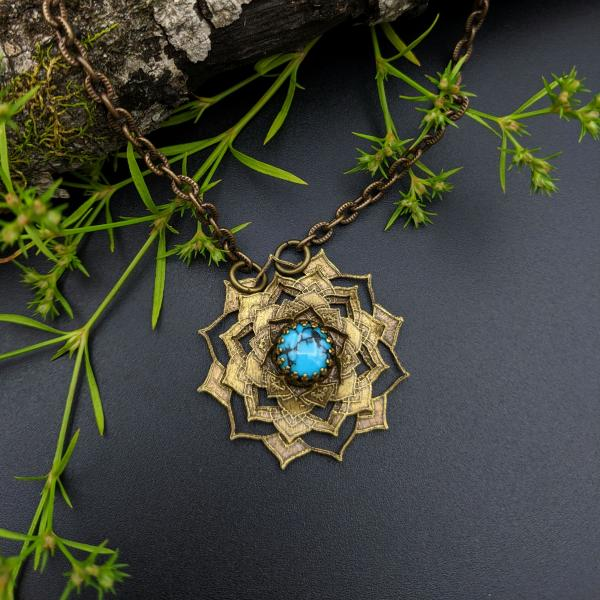 etched flower mandala necklace with kingman turquoise