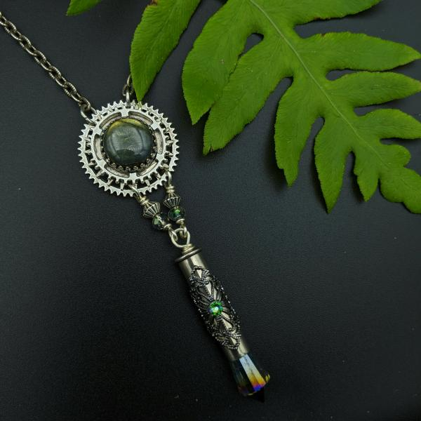 industrial gear necklace with faceted labradorite