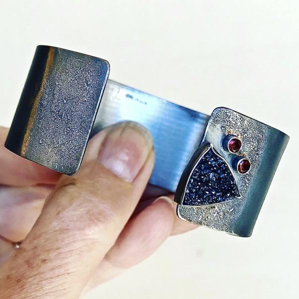 Oxidized Cuff Bracelet with Black Druzy