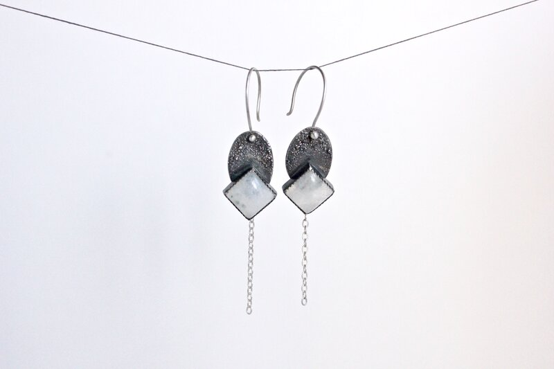Oxidized Moonstone Earrings