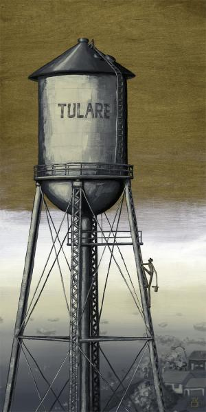 THE WATER TOWER PAINTER WOOD PANEL PRINT