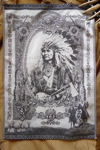 American Indian Chief Jacquard Tea Towel / Wall Art