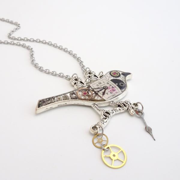Steampunk Bird Collector Necklace | Real Watch Parts & Rubies Set in Resin | Antique Silver
