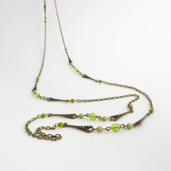 Long Wrap Necklace | Czech Glass Beads and Chain