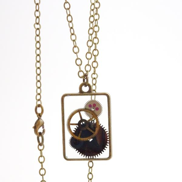 Steampunk Gears Necklace | Floating Vintage Watch Gears in Resin picture