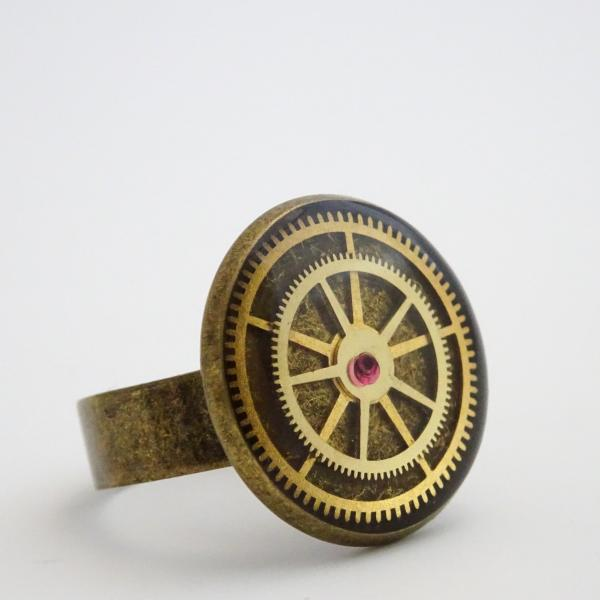Steampunk Ring | Antique Watch Parts and Watch Rubies in Resin